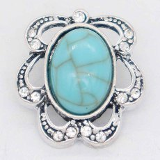 20MM design snap Silver Plated with Rhinestone and Cyan Turquoise KC6867