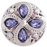 20MM дизайн оснастки серебро Антиквариат с фиолетовым стразами KC5450 оснастки ювелирные изделия