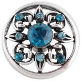 Diseño 20MM complemento chapado en plata antigua con diamantes de imitación cian KC8731 broches de joyería
