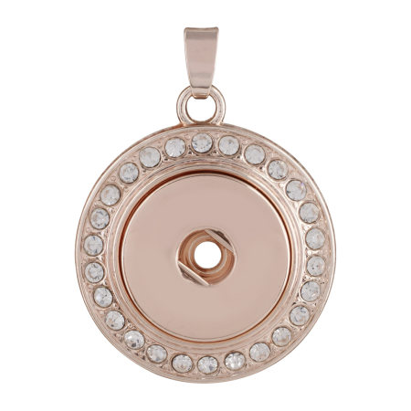 snap Rose Gold Pendant with rhinestone fit 20MM snaps style jewelry KC0387