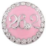 20MM maratón 26.2KM snap silver Chapado en antigüedades con diamantes de imitación y esmalte rosa KC5281 broches de joyería