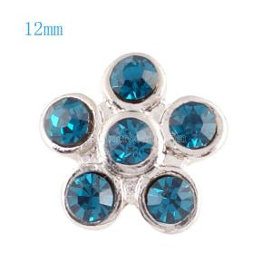 Broches 12mm de tamaño pequeño con diamantes de imitación cian para joyas en trozos