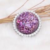 25MM Hecho a mano Grueso brillante redondo Ámbar complemento Plateado con diamantes de imitación KC7951 Púrpura