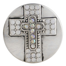 20MM cross snap button Antique Silver Plated with white Rhinestone KC9750 snap jewelry