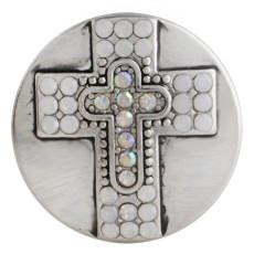 20MM Kreuz Druckknopf Antik Silber Überzogen mit weißem Strass KC9750 Druckknopf