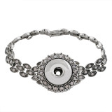 18CM 1 buttons snaps sliver bracelet with colorful rhinestone fit 18&20MM snaps chunks