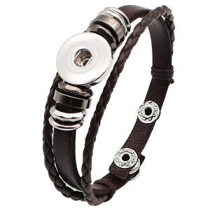1 buttons brown leather KC0281 with Small Pendants new type bracelets fit 20mm snaps chunks