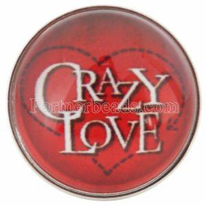 20MM Saint-Valentin s'enclenche verre rouge d'amour C0660 s'enclenche bijoux
