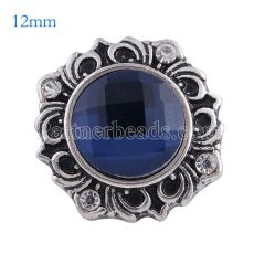 12MM flower snap Antique Silver Plated with dark blue glass KS6111-S snaps jewelry