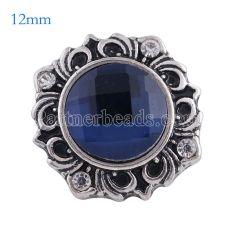 Broche de flores 12MM Plateado plata antigua con vidrio azul oscuro KS6111-S broches de joyería