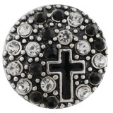 20MM cross snap silver plated with black Rhinestone and Enamel KC7495 interchangeable snaps jewelry