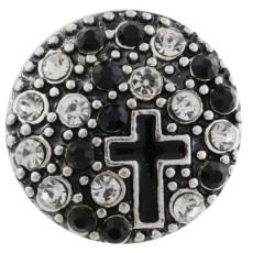 20MM Kreuz Druckknopf versilbert mit schwarzem Strass und Emaille KC7495 austauschbaren Druckknöpfen