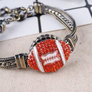 20MM Broche de fútbol plateado con diamantes de imitación KB8738