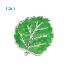 12MM Leaf snap Silver Plated with green Enamel KS6042-S snaps jewelry