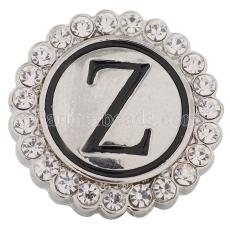 20MM English alphabet-Z snap Antique silver  plated with Rhinestones KC8555 snaps jewelry