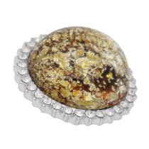 25MM Hand-made Thick glossy round  Amber snap Silver Plated with Rhinestone KC7962 yellow