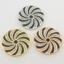 33MM stainless steel coin charms fit  jewelry size spiral with rhinestone