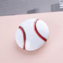 20MM Snap de baseball plaqué argent avec émail blanc KC6087 s'encliquette bijoux