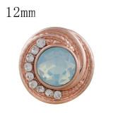 12MM rundes Rose Gold überzogen mit blauem Opalrhinestone KS6282-S schnappt Schmuck