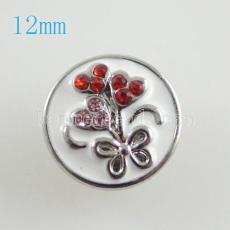 12mm fleur s'enclenche avec strass rouge KB6659-S snap bijoux