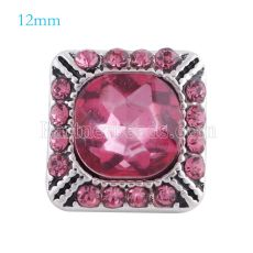 12MM Broche de plata antiguo plateado con diamantes de imitación rosa KS6155-S broches de joyería