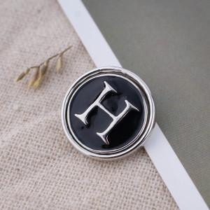 20MM Alfabeto inglés-H chapado en plata KB1258 con joyería de broches intercambiables de esmalte