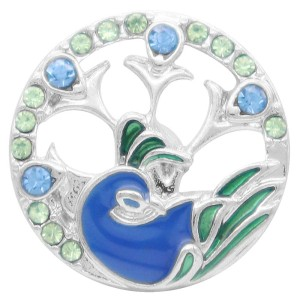 20MM  Peacock snap Silver Plated with rhinestone and blue enamel KC7902 snaps jewelry