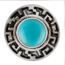 20MM Round snap Silver Plated avec cyan Turquoise stone KC7668 snaps jewelry