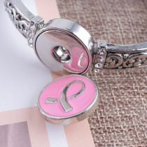 20MM Ribbon snap Silver Plated with Enamel KB7588 pink
