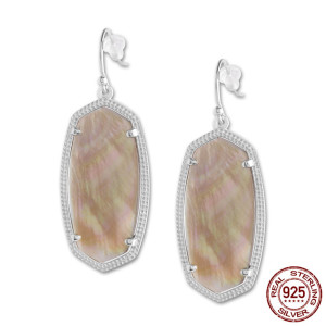 S925 Sterling Silver Kendra Scott style Elle Drop Earrings with Champagne shell GM6004