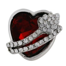 18MM heart snap Silver Plated with red Rhinestone KC6480 snaps jewelry