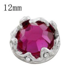 12MM couronne de bouton pression plaqué avec strass rose KS9712-S s'enclenche bijoux