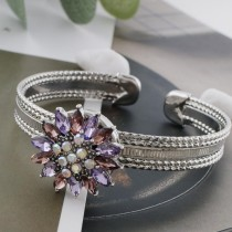 20MM design snap sliver plated with purple rhinestone KC7595 snaps jewelry