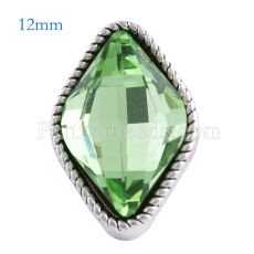 12MM diamond snap Antique Silver Plated with faceted green crystal KS6090-S snaps jewelry
