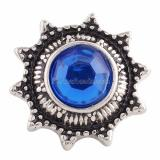 18MM snap Antique Silver Plated with blue Rhinestone KC9634 snaps jewelry
