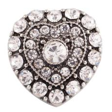 20MM Loveheart snap  Antique Silver Plated with white rhinestone KC7146 snaps jewelry