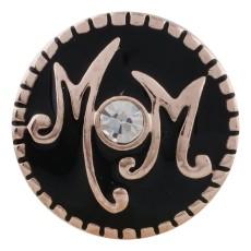 20MM mère Plaqué Or Rose avec strass et émail noir KC5639 snaps bijoux