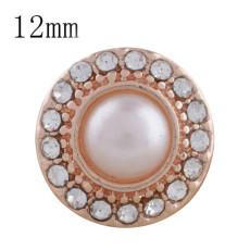 12MM круглое розовое золото, покрытое белой бусиной и стразами KS8073-S защелкиваются ювелирные изделия
