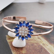 20MM design snap rose gold plated with blue rhinestone KC7577 snaps jewelry