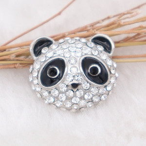 20MM Panda snap Silver Plated with rhinestone KC7996 snaps jewelry