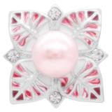 20MM pinker Perlenverschluss versilbert mit Strass und pinker Emaille KC7875 schnappt edel