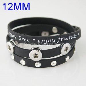 60CM PU bracelets fit 12MM snaps chunks