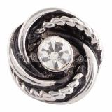 18MM snap Silver Plated with white Rhinestone KC9637 snaps jewelry