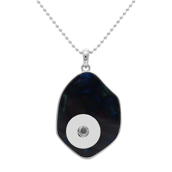Collier pendentif acrylique en argent avec chaîne 80CM KC1096 compatible 20MM morceaux se brise bijoux