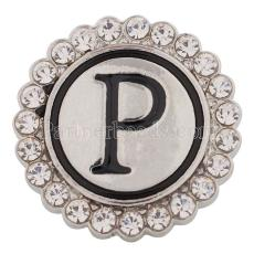 20MM English alphabet-P snap Antique silver  plated with  Rhinestones KC8545 snaps jewelry