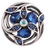 20MM design snap Antique Silver Plated with deep blue Rhinestone KC8691