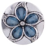 20MM flower snap Antique Silver plated with blue Rhinestones KC6255 snaps jewelry