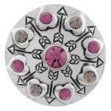 Coeur 20MM à pression argenté avec strass rose KC5552 s'encliquette bijoux