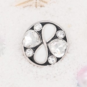 20MM loveheart snap Silver Plated with white rhinestone KC7914 snaps jewelry