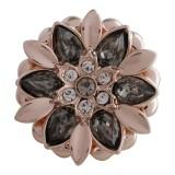 Diseño 20MM complemento chapado en oro rosa con diamantes de imitación grises KC5632 broches de joyería
